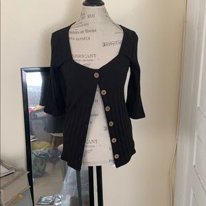 NWT Free People button ribbed top cardigan black
